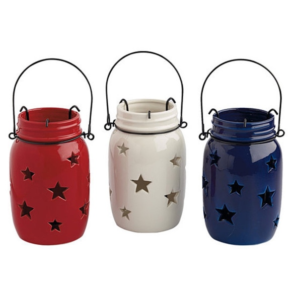 Design Imports Other | Star Jar Lanterns Hand Painted Red White Or ...